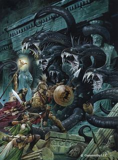 Attack the Hydra | Art by Wayne Reynolds ~ One of my favourite fantasy artists!