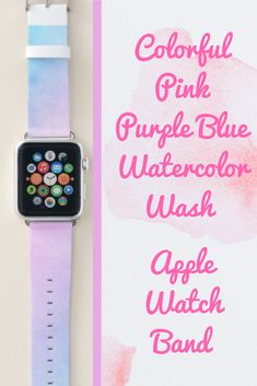 Shop Colorful Ombre Pink Purple Blue Watercolor Wash Apple Watch Band created by DogwoodAndThistle. Pink Apple Watch Band, Best Apple Watch, Apple Watch Series 1, Apple Fitness, Best Mothers Day Gifts, Apple Watch Accessories, Pink Purple, Blue, Series 4