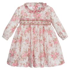 Baby Girls Pink Floral Hand Smocked Cotton Dress 1605526d0