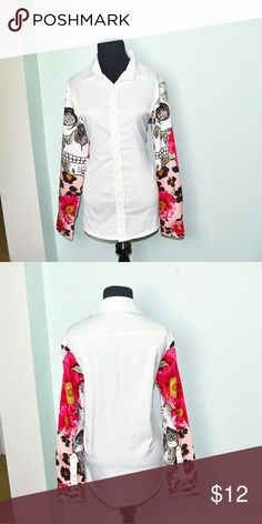 Adorable Girly Skull Print Button Down Shirt In excellent condition! Very comfortable, flattering, and soft! Buy 3 items and get 1 free plus 15%off your purchase total! Tops Button Down Shirts