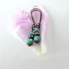 Turquoise Bead Earrings #beading #pearlerbeads #ideas