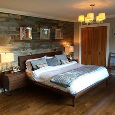 Easy peel-and-stick reclaimed wood walls. Great idea as a backdrop for the king-size bed in our master bedroom. From Stikwood.com