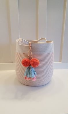 Extra Large Coral and White Rope Basket by PrairieStMercantile