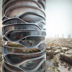 David Tajchman propone rascacielos cilíndrico en Tel Aviv,© David Tajchman 2016