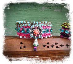 INDIE BUDDHA cuff Crochet BRACELET tribal friendship by GPyoga
