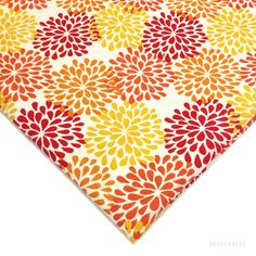 Red and Mustard Printed Cotton Fabric