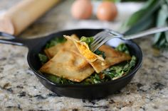 Pan Fried MultiGrain Sweet Potato Ravioli over Garlicky Escarole and Leeks :: The Well Floured Kitchen