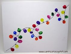 Christmas canvas painting craft, would be adorable to use finger prints for the lights :)