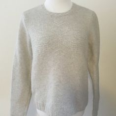 Ralph Lauren snowflake sweater Beautiful light gray sweater with snowflake pattern in clear beads on front. Only worn a few times. EUC. 75% wool, 25% angora/rabbit hair.   Size large. Ralph Lauren Sweaters Crew & Scoop Necks