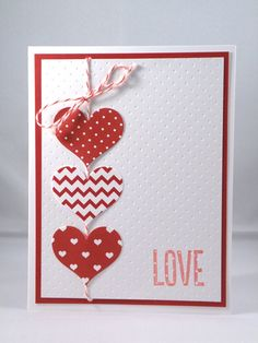 Red and White Anniversary Card with Hearts by APaperParadise, $3.95