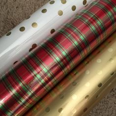 Plaid, gold and polka dots! Wrapping the gifts is as fun as opening them! (almost)