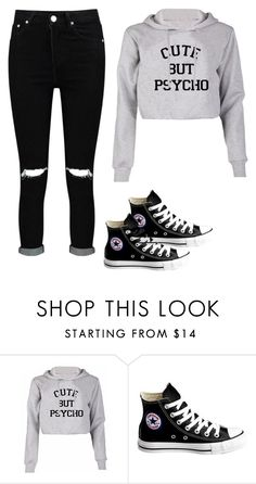 """""""Cute But Psycho Sweater"""" by cecilialukas on Polyvore featuring Converse and Boohoo"""