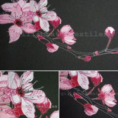 Cherry Blossom. Freehand machine embroidery. ©gillianbates 2014