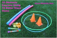 10 Obstacle Courses Using 10 Dollar Store Items #summer #kids #exercise