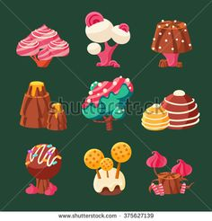 Cartoon Sweet Candy Land. Vector Illustration Set