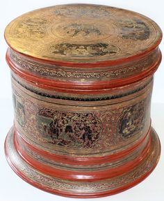 Antique Decorated Lacquerware bit-it Burma Antique Decor, Antique Art, Symbolic Representation, Pretty Box, Asian Decor, Burmese, Tribal Art, Prehistoric, Asian Art