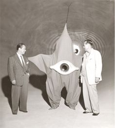 "Taro Okamoto, (left) designer of the Paira Aliens from ""Warning from Space"" 1956"
