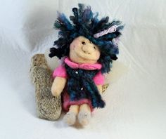 Finger puppet pixie fairy with blue hair white wings by Furballis