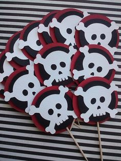 Pirate theme Skull Cupcake Toppers