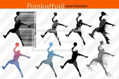 Silhouette of basketball players NBA  @creativework247