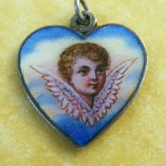Antique Art Nouveau Silver Enamel Angel Cherub Heart Charm Pendant 2 Sides | eBay, $395.00
