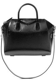 Antigona small glossed textured-leather shoulder bag