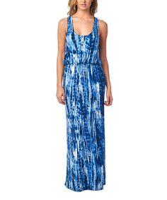 Love this Royal Blue Tie-Dye Racerback Maxi Dress by Popana on #zulily! #zulilyfinds