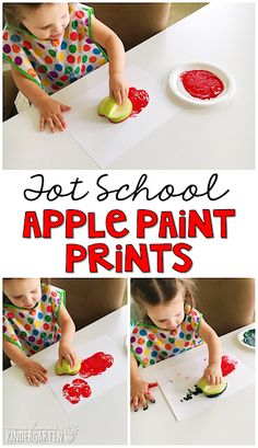 Apple prints are fun for fine motor practice with an apple theme. Great for tot school, preschool, or even kindergarten!