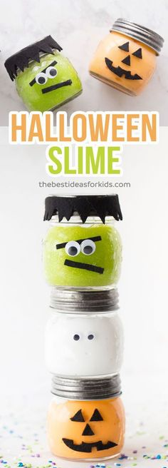 What a fun Halloween party favor for kids. This Halloween slime is so easy to make! Only 3 ingredients and no borax! Make these for a halloween party or to give out as a non-candy treat. Diy Halloween Slime, Halloween Party Favors, Kid Party Favors, Halloween Crafts For Kids, Halloween Birthday, Halloween Activities, Halloween Cupcakes, Holidays Halloween, Halloween Treats