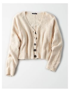 AE Cropped Cardigan Sweater, Oatmeal | American Eagle Outfitters