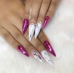 pink chrome marble stiletto nails