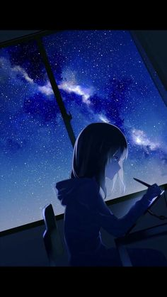 Collection of anime night sky images in collection) Kawaii Anime Girl, Manga Kawaii, Anime Art Girl, Manga Girl, Anime Girls, Kawaii Art, Anime Night, Sad Anime, Manga Anime