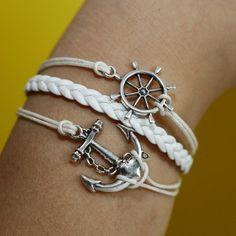 Anchor and rudder Bracelet silver bracelet white wax cords,white braided leather bracelet. $5.18, via Etsy.