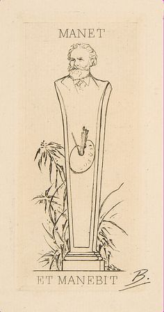 Ex-libris Manet Félix Bracquemond (French, Paris 1833–1914 Sèvres) Date: 1875 Medium: Etching; first state of three Dimensio...