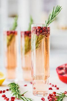 Pomegranate-Rosemary Spritzer: Ruby red Pomegranate seeds and a sprig of fresh rosemary add a festive touch to this pretty Prosecco-based cocktail. Perfect for a Fall wedding