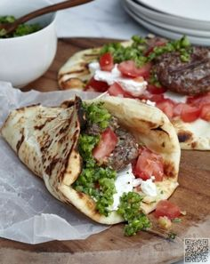 22. Lamb #Burgers with Green #Harissa - 29 Ways to Make a Healthier #Sandwich with Pita Bread ... → Food #Photopost