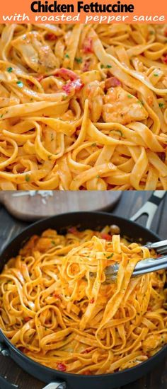 This elegant and creamy Fettuccine with Roasted Pepper Sauce and Chicken is made.This elegant and creamy Fettuccine with Roasted Pepper Sauce and Chicken is made in under 30 minutes and requires just 6 ingredients. Your guests and family members wi Pasta Recipes, Chicken Recipes, Cooking Recipes, Healthy Recipes, Milk Recipes, Cream Recipes, Healthy Meals, Healthy Food, Chicken Fettuccine