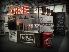 Casual Dining Exhibition on Behance Food Stall Design, Food Cart Design, Food Truck Design, Led Neon, London Sign, Food Kiosk, Food Park, Restaurant Signs, Restaurant Ideas