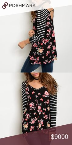 COMIMG SOON! Floral Striped Jersey Make a bold statement with this floral-striped print jersey featuring an open back.  Fabric Content: 95% RAYON 5% SPANDEX Tops Tees - Long Sleeve