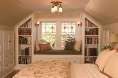 Traditional Guest Bedroom. I have always wanted a bedroom with a window seat where I could curl up and read.