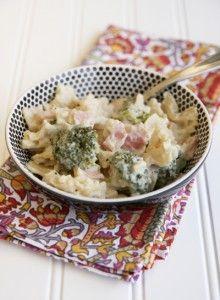 Creamy cauliflower sauce on pasta.