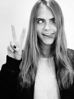 cara delevingne black and white cross eyed//such a cutieeee