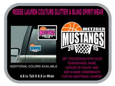 MUSTANGS BASKETBALL Decal - Personalize With Your School/Team Name, Your Name, and CHOICE of Colors for no additional charge by ReeseLaurenCouture on Etsy