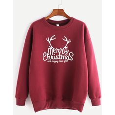SheIn(sheinside) Burgundy Ribbed Trim Christmas Print Sweatshirt ($16) ❤ liked on Polyvore featuring tops, hoodies, sweatshirts, print sweatshirt, red top, pullover sweatshirt, long sleeve sweatshirt and christmas sweatshirts