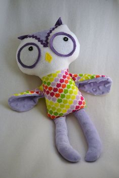 Ready to Ship Owl Rag Doll Plush Stuffed Animal.  Minky stuffed animal.  Dolls and daydreams pattern.  By Yourlocalhooker, $28.00