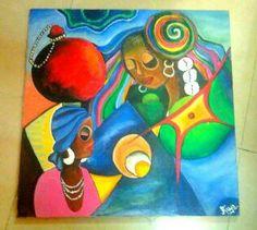 canvas. Acrylic paints.