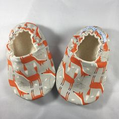 Fox Baby Shoes Baby Slippers Fox Gray Orange Gender