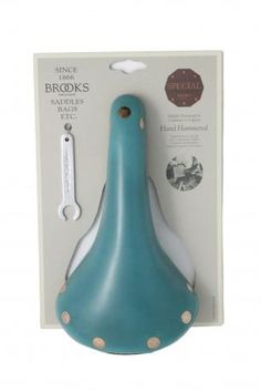 Brooks England LTD. - Bicycle colt saddle entirely handmade,made of blue smurf color leather, chromed steel frame, large rivets copper hammered provided there is also the seat cover. Brooks England LTD. skillfully handmade by craftsmen in England. Brooks England, Steel Frame, Craftsman, Chrome, Copper, Bicycle, Tableware, Leather, Handmade