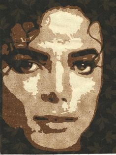 "Michael Jackson...this portrait was created using a technique from ""Making Faces"" by Maria Elkins"