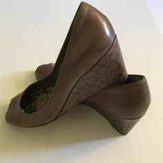 Coach peep toe shoes Coach peep toe shoes. Light brown/tan color. Fit is TTS. Some wear inside and on soles. Coach Shoes Heels